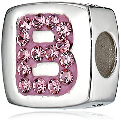 e21c5b1cd Amazon.com: Hello Kitty Girls Sterling Silver Enamel and Crystal Initial
