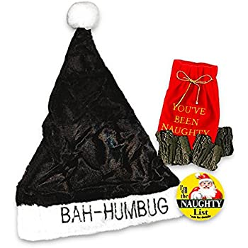 Scrooge Bah Humbug Hat Set for Kids -- Black Santa Hat, Lump of Coal and Naughty List Button