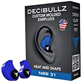 Decibullz Custom Molded Earplugs, 31dB Highest NRR, Comfortable Hearing Protection for Shooting, Travel