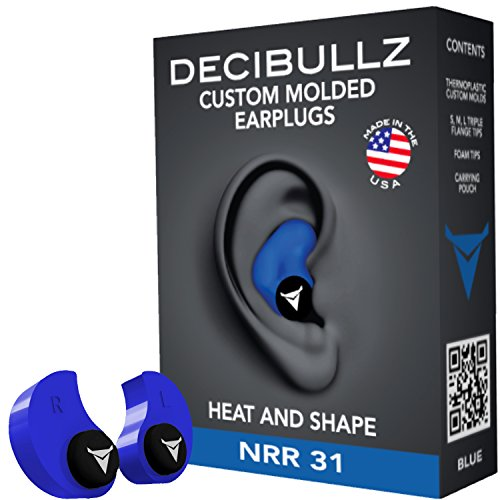 Decibullz Custom Molded Earplugs, 31dB Highest NRR, Comfortable Hearing Protection for Shooting, Travel, Swimming, Work and Concerts (Blue)]()
