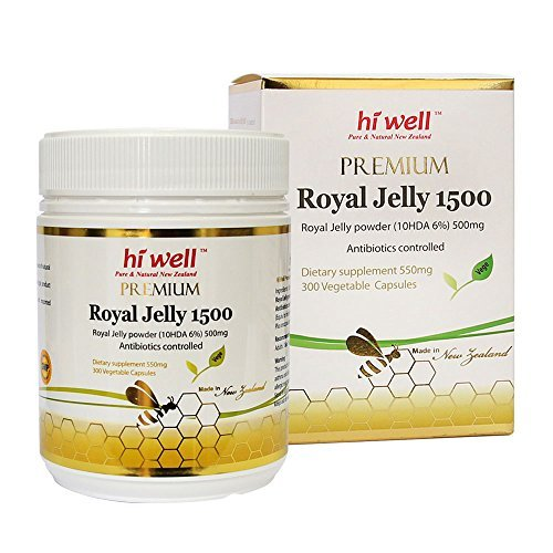 Hi Well Premium New Zealand Bee Royal Jelly 1500mg 10hda 6% 300 Vegetable Capsules Immune Support Vitamins & Minerals by Hi Well