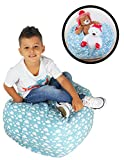 Stuffed Animal Storage Bean Bag Chair – Premium Seat – Easy Solution for Extra Toys / Blankets / Covers / Towels / Clothes (Blue)