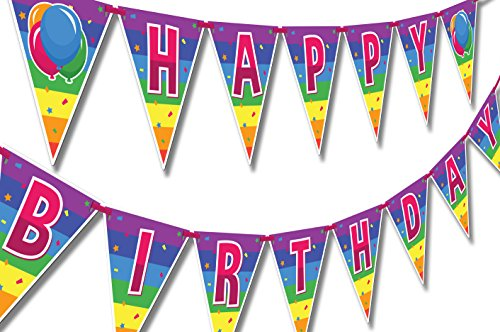 (Papery Pop Happy Birthday Banner - Kids Birthday Decorations for Boys or Girls - Colorful Rainbow Birthday Party Supplies)
