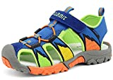 Zicoope Boy's Summer Closed-toe Velcro Strap Sport Sandal for Hiking/Running/Traveling Blue US Size 2 M
