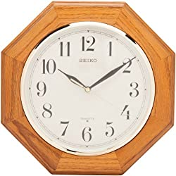 Seiko Wall Clock Medium Brown Solid Oak Case