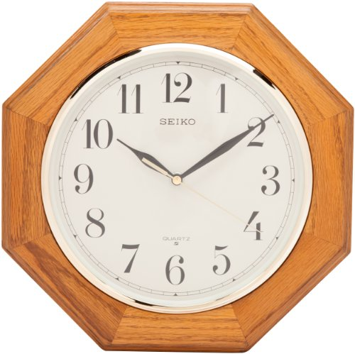 Seiko Wall Clock Medium Brown Solid Oak ()