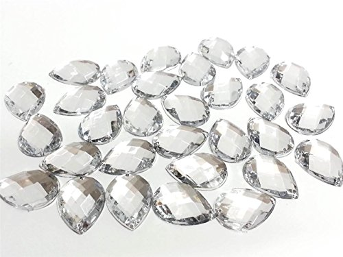 CraftbuddyUS 30 25x18mm SEW on Stick on Clear Teardrop Pear Acryl Diamante Rhinestone Gems