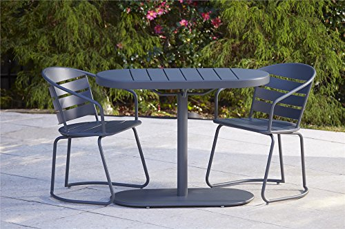 Cosco Outdoor 3 Piece Metro Retro Nesting Bistro Steel Patio Furniture Set, Assembled, Gray (Outdoor Bar Sets Home Depot)