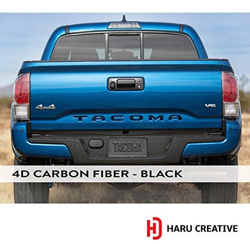Haru Creative - Toyota Tacoma 2016-2018 Rear Tailgate Letter Insert Decal - 4D Carbon Fiber - Letter Fiber
