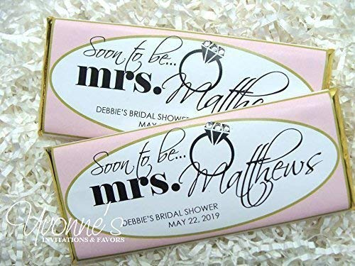 (Soon-to-Be Mrs. Bridal Shower Candy Bar Wrappers-Personalized Wrappers for Chocolate Bar Favor-Blush Pink and Gold-Bridal Shower, Bachelorette Party Favors (SET OF 12) **Chocolate Not Included **)