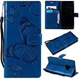 Samsung Galaxy S9 Case, Lomogo Leather Wallet Case with Kickstand Card Holder Shockproof Flip Case Cover for Samsung Galaxy S9 - LOKTU21667 Blue