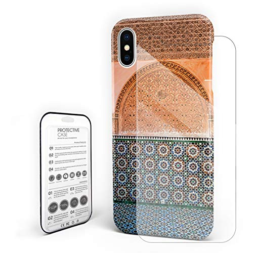 Protective Phone Case for iPhone X Case Cover, Moroccan Architectural Tile Wall Ceramic for Travel, Shockproof Anti-Scratch Hard Back Case with Tempered Glass Screen Protector