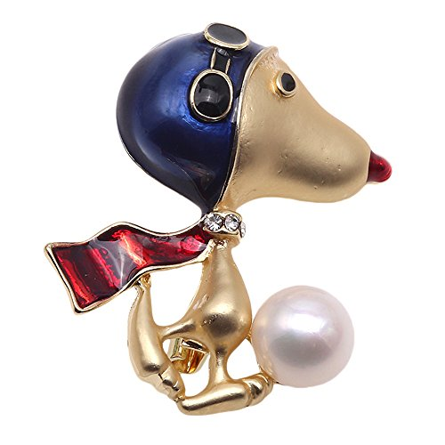 (JYX Pearl Lovely Doggy Brooch 9.5mm White Freshwater Cultured Pearl Brooch Pin for Women)