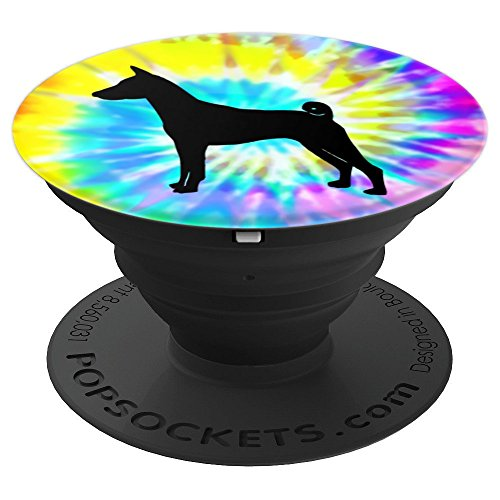 (Basenji Dog Silhouette with Puppy Tie Dye Prints - PopSockets Grip and Stand for Phones and)