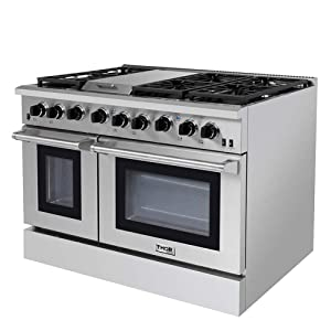 Thor Kitchen 48 Pro- Style Range with 6 Burners and Double Ovens, Natural Gas or Propane Gas Stainless Steel LRG4801U