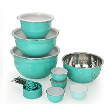 Better Home and Gardens Limited Edition Teal Prep & Store Kitchen Set - Measuring cups, spoons, bowls, colander