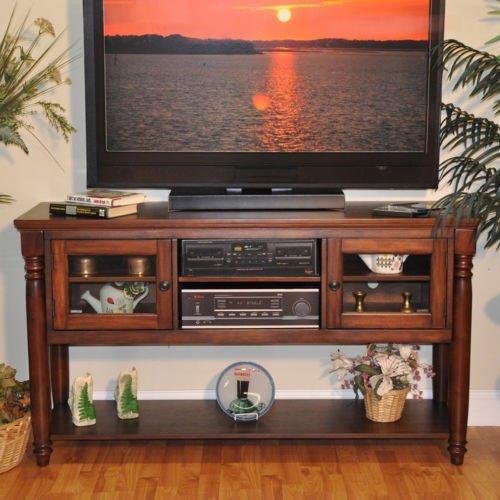 Luxury Lanes Furniture Williamsburg 58-inch Rustic Mahogany Entertainment Cart by Philip Reinisch