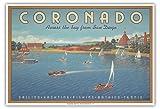 Pacifica Island Art Coronado Island, California - Across the Bay from San Diego - Hotel Del Coronado - Sailing - Vintage Style World Travel Poster by Kerne Erickson - Master Art Print - 13 x 19in