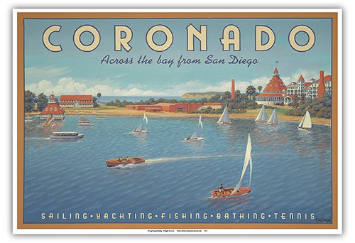 Pacifica Island Art Coronado Island, California - Across the Bay from San Diego - Hotel Del Coronado - Sailing - Vintage Style World Travel Poster by Kerne Erickson - Master Art Print - 13 x 19in
