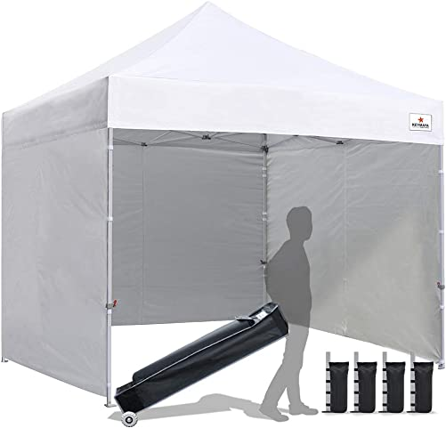 Keymaya 10×10 Ez Pop Up Canopy Tent Commercial Instant Shelter with 4 Removable sidewalls Bonus Weight Bag 4-pc Pack White