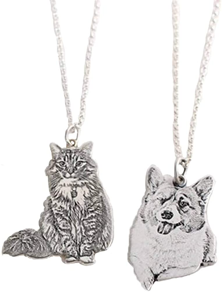 Collar de foto personalizable chapado en plata con imagen y texto grabado colgante recuerdo regalo para amante de la mascota