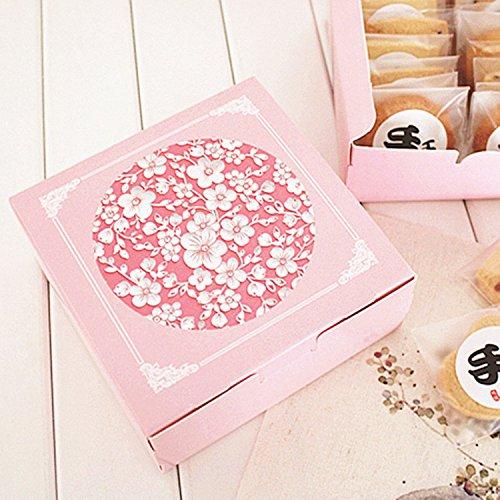 Saasiiyo Hot Sale 12124.5cm10pcs pink sakura cherry Cheese Cake Paper Box Cookie Container gift Packaging Wedding Christmas Use