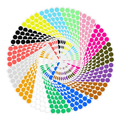 Fan-Ling Simple and Convenient Multiple Quantities Multi-Color Round Coded Stickers,Round Color Coded Sticker, 60 Sheet,40pcs Stickers/Sheet