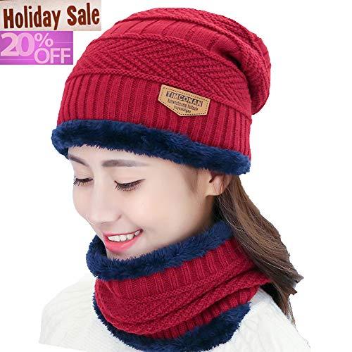 Piece Clothes Western 2 (Blevla 2-Pieces Winter Beanie Hat Scarf Set Warm Knit Hat Thick Knit Skull Cap For Men Women Burgundy)
