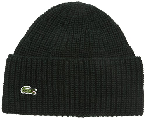 Lacoste Men's Cardigan Rib Knitted Cap with Green Croc, K...