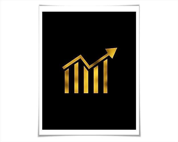 Amazon Stock Ticker Gold Foil Art Print 36 Colours3 Sizes