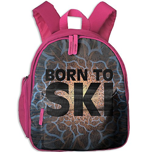 Student School Bags Backpack Daypack Born To Ski 04 Super Bookbag Break For Kids Pink (Ski 04)