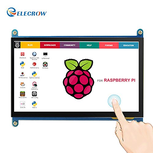 Elecrow HDMI TFT LCD Display Monitor 7 Inch 1024X600 HD Screen with Touch Function for Raspberry Pi B+/2B Raspberry Pi 3B (Touch Screen Small Monitor)