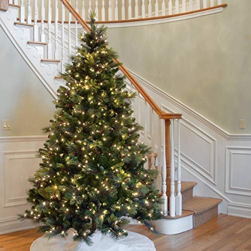 National Tree 7.5 Foot Carolina Pine Tree with Flocked Cones and 750 Clear Lights, Hinged (CAP3-306-75)
