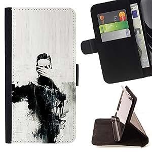 """For LG G4c Curve H522Y (G4 MINI), NOT FOR LG G4,S-type Arte Ojos Pintura Mano Carbón"""" - Dibujo PU billetera de cuero Funda Case Caso de la piel de la bolsa protectora"""