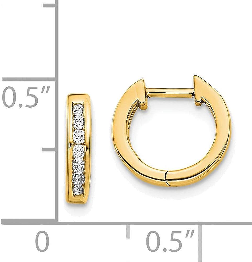 Lex /& Lu 14k Yellow Gold Polished Diamond Post Hoop Earrings LAL1685