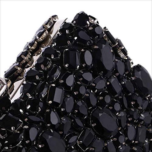 Borsetta Pacchetto Jiaojiao Sera Abito Sz ' Partito silver Cena Frizione Black Diamanti Da Bag Ladies Perline Con RwtRqx1Y