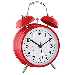 Retro Double Bell Bedside Non-Ticking Alarm Clock with - 4 inches (red)