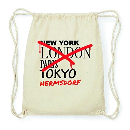 JOllify HERMSDORF Hipster Turnbeutel Tasche Rucksack aus Baumwolle - Farbe: natur Design: Grafitti