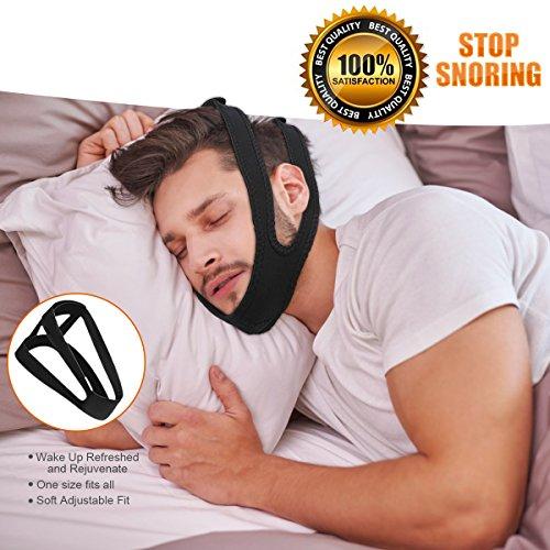 KPAO Adjustable Stop Snoring Chin Strap Anti-Snore Sleep Aid- Sleep Well Naturally Comfortable (Black)