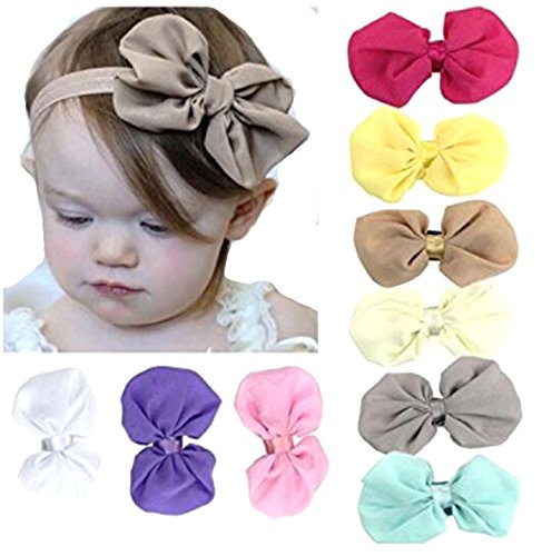 Bestjybt 9PCS Sweet Babys Girls Chiffon Flower Elastic Bow Headband Head Wrap Turban Knot Hairband]()