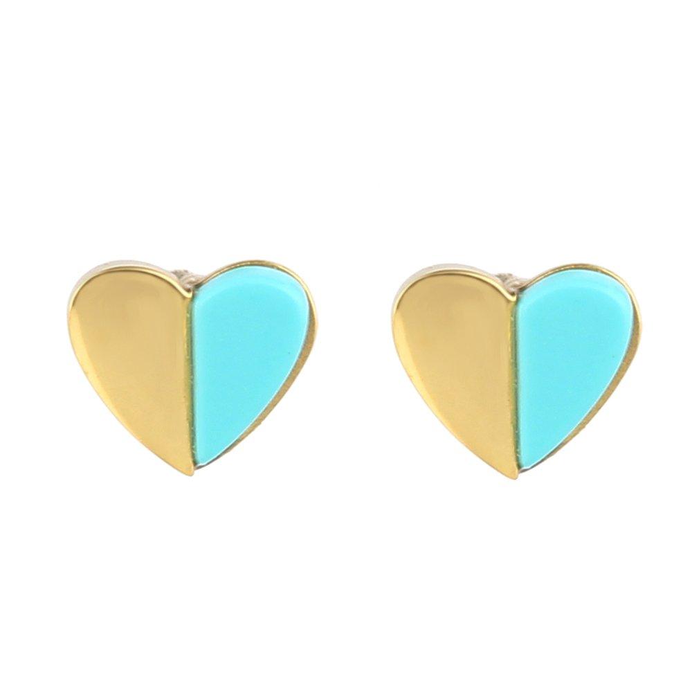 Lureme Stainless Steel 18K Gold Mini Heart Stud Earrings with Turquoise (er005629) Yida er005629-1