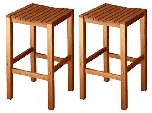 LuuNguyen Joe Outdoor Hardwood Bar Height Chair Natural Wood Finish, Set of 2 (Outdoor Wood Bar)