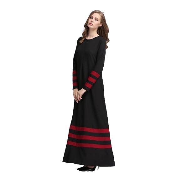 a93fa3d9e2 Amazon.com: Weixinbuy Women Muslim Abaya Islamic Clothing Long Sleeve  Stripe Maxi Dresses: Clothing