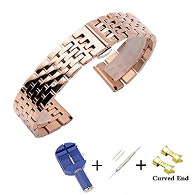 20mm 22mm Solid Stainless Steel Strap Replacement Watch Bands with Free Removal Tool and Curved End