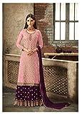Laxminarayan Women Designer Bollywood Indian Pakistani Faux Georgette Ethnic Wear Sharara Style Salwar Suit (X-Large, Pink)