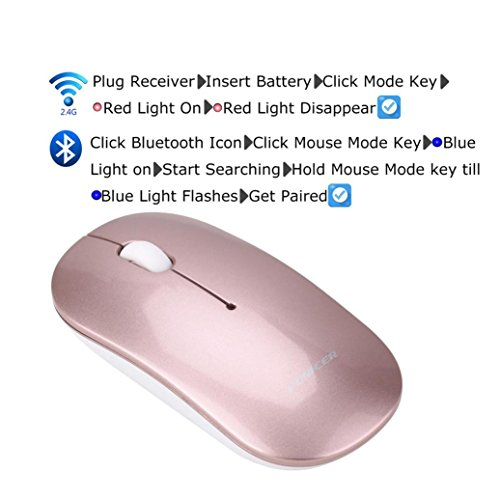 Cywulin FONICER Bluetooth 4.0 Dual Mode Wireless Business Office Mouse 2.4G Laptop Black Desktop Pro Game Notebook PC