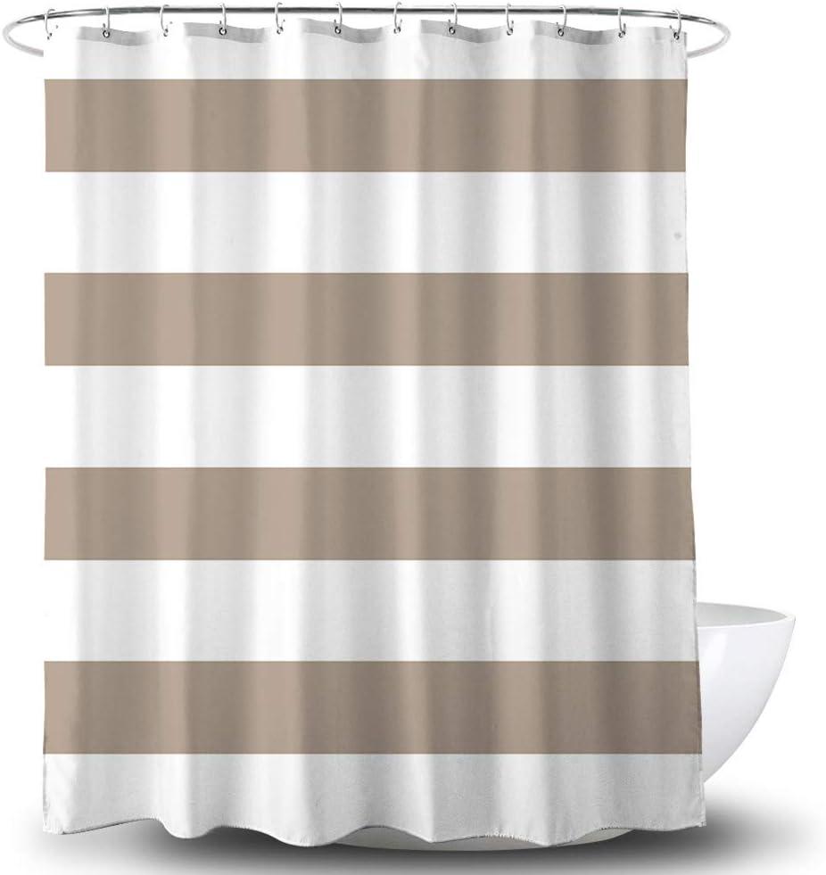 Jibin Bong Striped Fabric Shower Curtain, Waterproof Polyester Fabric Striped Shower Curtain Brown and White, Heavy-Duty Fabric Striped Shower Curtains for Bathroom, 72 X 72 Inches