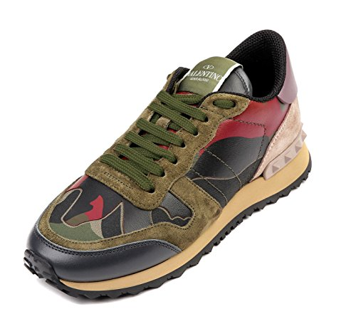 Wiberlux Valentino Women's Stud Detail Camo Lace-Up Running Shoes 37.0 Olive_Red