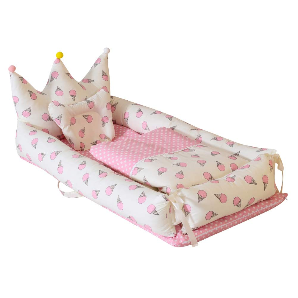Baby Nest Bassinet Lounger for Bed Weixinbuy Fold Travel Baby Sleep Bed Cotton Removable Cover Breathable Portable Crib for Infants Toddler Newborn Baby by Weixinbuy