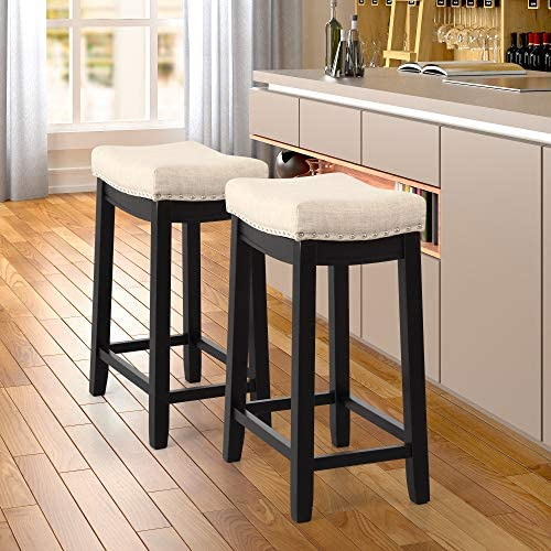 Merax Bar Stools Set of 2, Saddle Backless Linen Counter Height Stools with Padded Nailhead Studs for Kitchen, Dining Room, Coffee Bar and Pub Black
